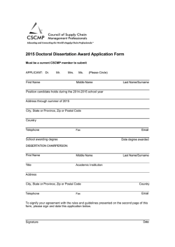 2015 Doctoral Dissertation Award Application Form