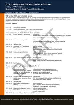 2nd Anti-infectives Educational Conference