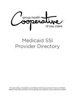 Medicaid SSI Provider Directory - Group Health Cooperative of Eau