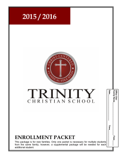 New Student Application - Trinity Christian School