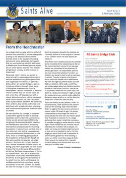 From the Headmaster - Saints Anglican School