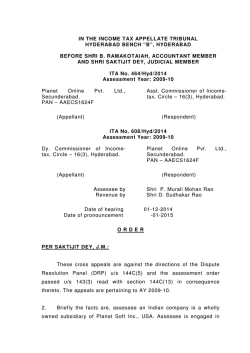 "in the income tax appellate tribunal hyderabad bench ""b"