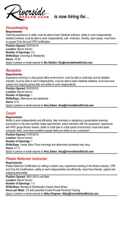 Job Postings - Riverside Health Club