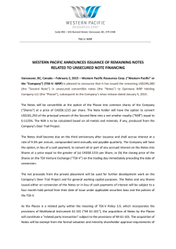 western pacific announces issuance of remaining notes related to
