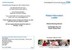District Nursing for CC/SC - Patient Information