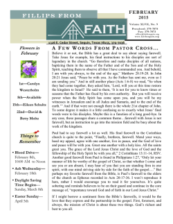 Current Monthly Newsletter - Faith Lutheran Church, Seguin, Texas