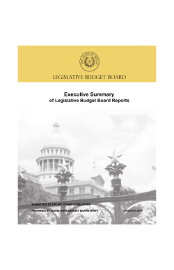 LBB Executive Summary - Legislative Budget Board