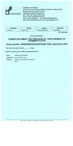 TENDER DOCUMENT FOR PURCHASE OF