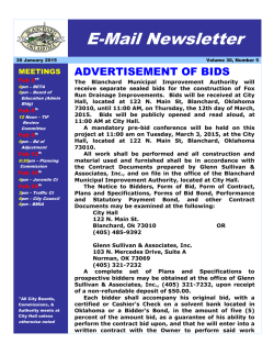 E-Mail Newsletter - CITY OF BLANCHARD
