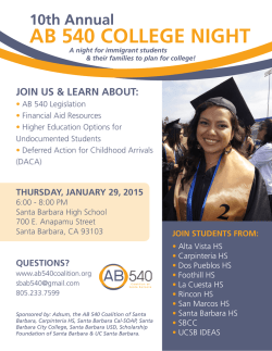 10th Annual AB 540 COLLEGE NIGHT JOIN US
