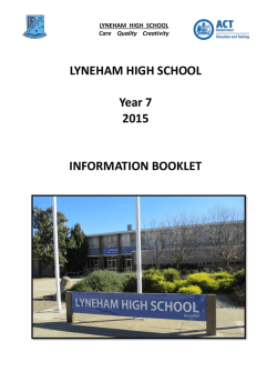 LYNEHAM HIGH SCHOOL Year 7 2015 INFORMATION BOOKLET
