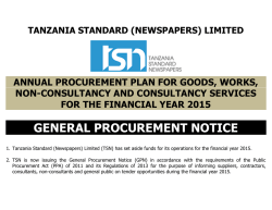general procurement notice - Tanzania Standard (Newspapers) Ltd