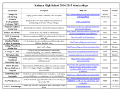 Kalama High School 2014-2015 Scholarships