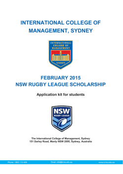 ICMS NSW RUGBY LEAGUE SCHOLARSHIP APPLICATION FORM
