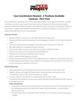 Case Coordinators - Youth Assisting Youth