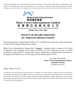 Notice of Board Meeting by Written Resolutions