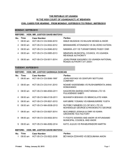 Mbarara High Court Cause List, Monday 17th