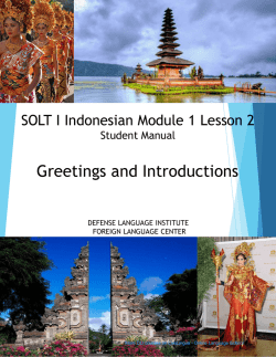 SOLT I Indonesian Module 1 Lesson 2 Student Manual
