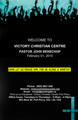 WELCOME TO VICTORY CHRISTIAN CENTRE