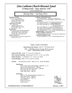 Sunday Bulletin - Zion Lutheran Church