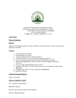 AGENDA OF THE REGULAR SESSION OF THE