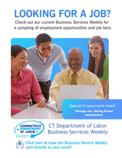 Business Services Weekly - Connecticut Department of Labor