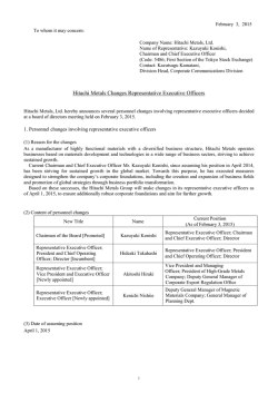 Hitachi Metals Changes Representative Executive Officers (PDF