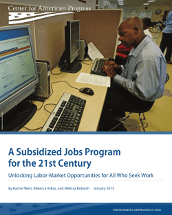 A Subsidized Jobs Program for the 21st Century