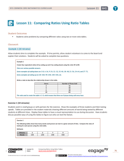 Lesson 11: Comparing Ratios Using Ratio Tables