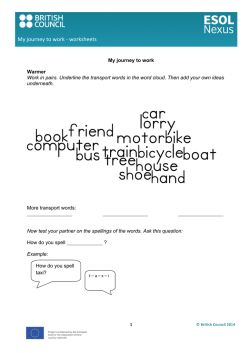 My journey to work -‐ worksheets - ESOL Nexus
