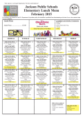 Jackson Public Schools Elementary Lunch Menu February 2015