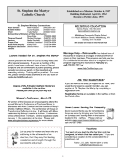 Bulletin 2-1-2015 - Saint Stephen the Martyr Catholic Church