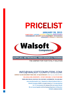 Pricelist - Walsoft Computers