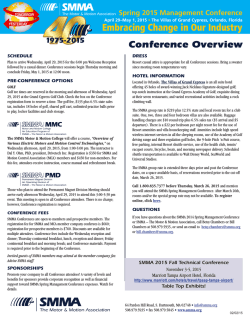Conference Overview - SMMA Motor and Motion Association