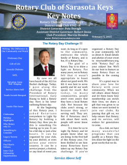 Current Keynotes - Rotary Club of the Sarasota Keys, Florida, USA