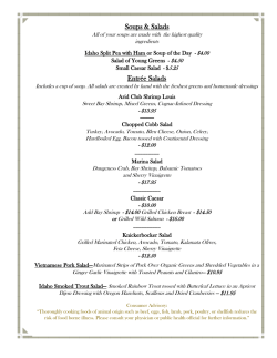 Lunch Menu - The Arid Club