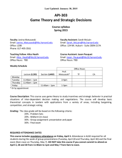 API-303 Game Theory and Strategic Decisions