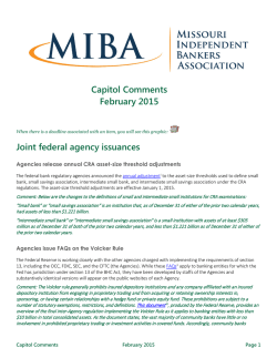 Capitol Comments - Missouri Independent Bankers Association
