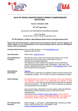 2015 ipf world master bench press championships invitation