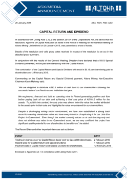 CAPITAL RETURN AND DIVIDEND
