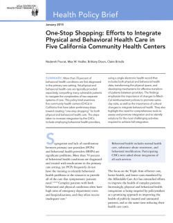 Policy Brief: One-Stop Shopping: Efforts to Integrate Physical and