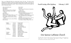 Bulletin Announcements - Our Saviour Lutheran Church