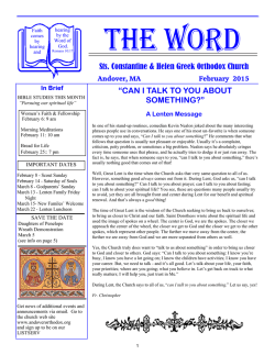 Parish Newsletter - Sts. Constantine and Helen Greek Orthodox