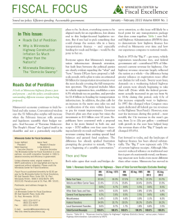 January/February 2015 - Minnesota Center for Fiscal Excellence