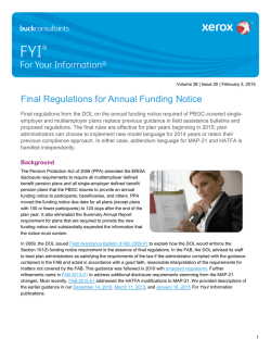 Final Regulations for Annual Funding Notice