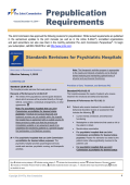 Standards Revisions for Psychiatric Hospitals