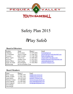 "Safety Plan 2015 ""Play Safe"" - Pequea Valley Youth Baseball"