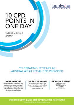 10 CPD POINTS IN ONE DAY - Legalwise Seminars Pty Ltd