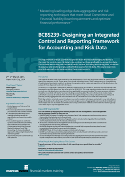 BCBS239- Designing an Integrated Control and Reporting