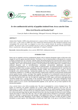 In vitro antibacterial activity of peptides isolated from Areca catechu